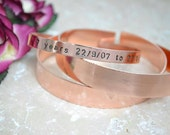 Personalised copper cuff Hand stamped Cuff bracelet personalised unisex bangle ladies