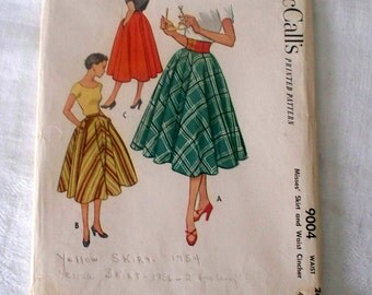 1950s McCalls Skirt & Waist Clincher Pattern - 9004 - Size 26 - Cut Complete