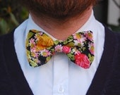 SALE! Floral Clip-On Bow Tie Black Pink Gold - Pre-Tied Bow Tie with Vintage Fabric.