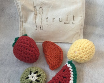 Crochet Play Food for Learning - Fruit Pack including Watermelon Slice, Kiwi Fruit, Orange, Lemon, and Strawberry