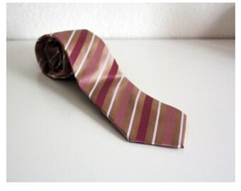 Vintage Pure Silk Mens Tie French Man Tie Necktie Red Taupe Beige White Golden Striped Tie Man Gift Paris Fashion