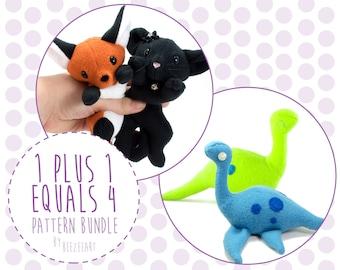 1 + 1 = 4 Pattern Bundle Set - Fox/Cat + Dinosaur/Loch Ness Monster