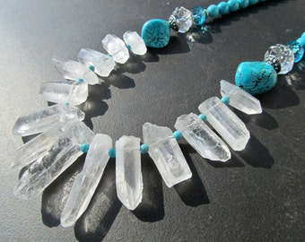 Chunky Quartz Statement Necklace, Quartz Spikes, Clear Quartz, Turquoise Necklace, Big Bold Chunky, Collar Necklace, Tribal Necklace 920