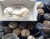 3 Small, felted SOAP pebbles with stripes, Gift idea, interesting  and unusual small gift.