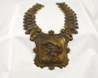 Vintage Brass Edwardian Style Cameo Pendant Necklace with Link Chain