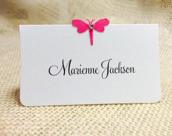 10 Drgonfly Wedding Place Cards, Bridal Shower, Birthday Party Place Cards, Dragonfly with Gem, Customize Any Color, Name Printing