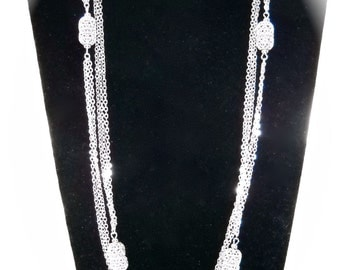 MONET Vintage Silvery  Long Multi Chains Necklace
