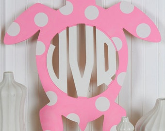 Unfinished Monogram Wooden Turtle Circle Monogram Door Wreath or Hanger! Adorable! Perfect for any lake or beach house!