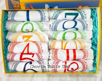 Boys 12 Months Complete Birth Onesies Bodysuit Month Anniversary Primary Color Baby Photo Props New Mom Gifts Milestone Baby Shower Gift Set