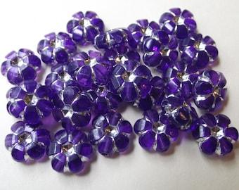 Acrylic Flower Beads - Royal Purple with Rhinestone Beads - SIZE 10mm - QTY 25