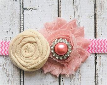 Pink Baby Girl Easter Headband, Easter Headband, Photo Prop, Spring Headband, Pink Headband