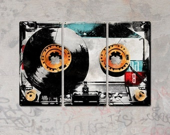 """Retro Cassette Tape METAL triptych 36x24"""" FREE SHIPPING"""
