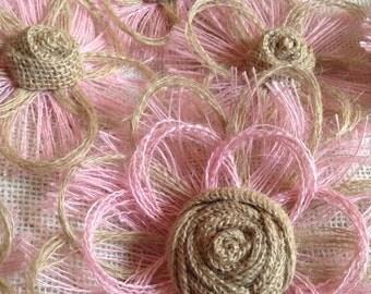 Pink Burlap Flower Set of 6 - Shabby Chic - Rustic - DIY Wedding