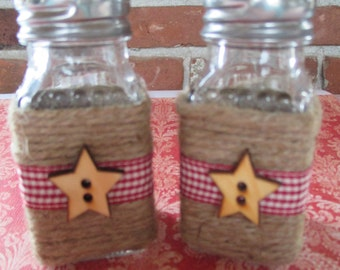 Primitive, rustic, country salt and pepper shakers