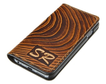 Wood Design - iPhone 7 Leather Wallet Case / iPhone 7 Leather Wallet / iPhone 6 Leather Case / Free Initials Engraving / Gift for Him
