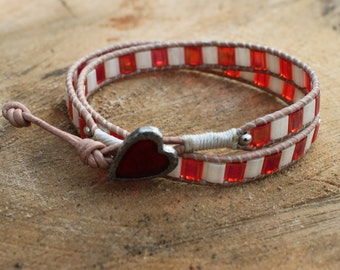 Valentine Wrap Bracelet with a red heart button