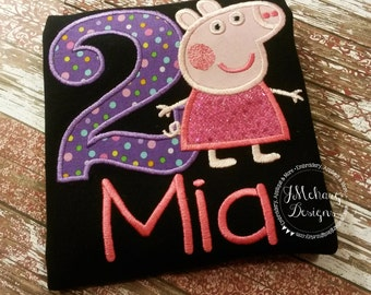 Peppa Pig Birthday Custom Tee Shirt - Customizable -  Infant to Youth 126