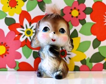 Vintage Kitsch Cute Dog Puppy Figurine Furry Hair