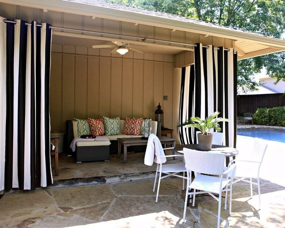 Striped outdoor curtainssale pair of drapes custom by - Custom made outdoor curtains ...