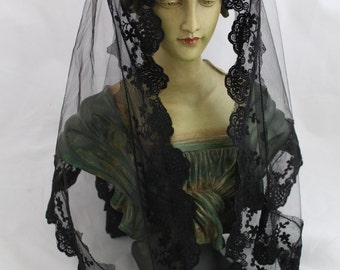 Traditional Mantilla / Long Triangle Chapel Veil / Triangular Veil /  Catholic Headcovering / Veil for Mass / The Marcella Veil.