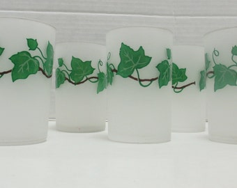 Federal Glass Metlox Ivy Pattern - Small Frosted Juice Glasses - Set of 6