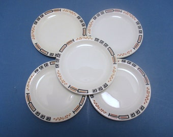 Sterling China Restaurant Ware STR77 Black Box and Line, Rust Lines and Leaves - Small Bread and Butter Plates  - Set of 5