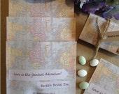 TRAVEL THEME Tea Bag Favor Including Tea Bag OR Miniature Luggage Candy Favor Box Wedding High Tea Bridal Shower