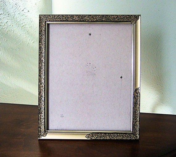 items similar to 8 x 10 gold metal picture frame hand painted ornate filigree design easel. Black Bedroom Furniture Sets. Home Design Ideas