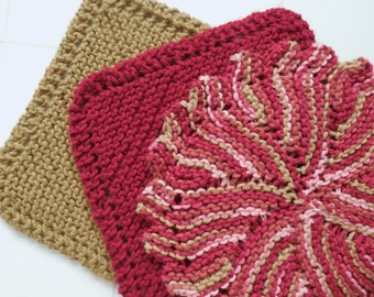Cranberry Fest, Set of three handknit cotton dishcloths, cranberry, red, cotton, tan, dish cloth gift set, autumn gift idea, winter, holiday