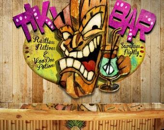 Tiki Bar Metal Wall Art Sculpture