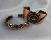 Two Vintage COPPER Open Bangle CUFF BRACELETS Handcrafted Metal Jewelry