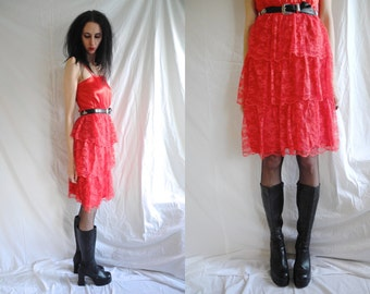 90's rocker/grunge red satin and tiered lace dress.