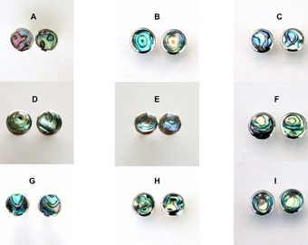 Beautiful Green (natural color) Paua Abalone Stud Earrings in Sterling Silver Setting. Petite Round Post Stud Earrings