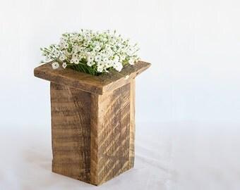 Barn wood Utensil Holder, Tall Rustic Box