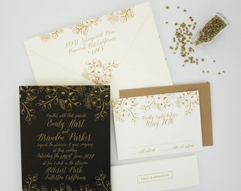Wedding Invitations, Floral Wedding Invitation, Black and Gold, Roses, Modern, Urban Chic Wedding Invitation - Golden Floral Sample
