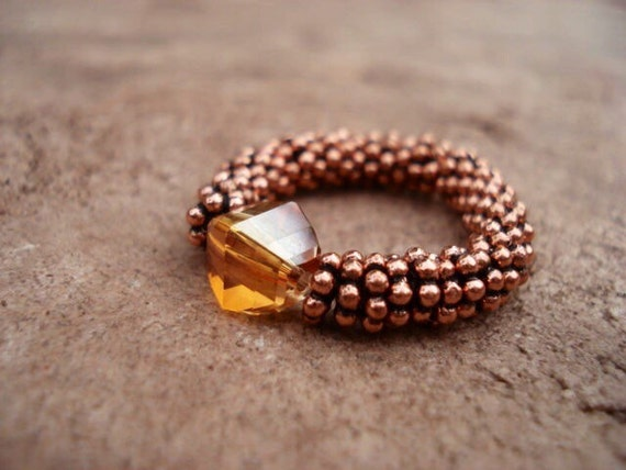 Stretch Ring, Gemstone Ring, Copper Color Crystal Ring, Copper Beaded Ring, Copper Jewelry, Women's Jewelry, Adjustable Ring, Bohemian Ring