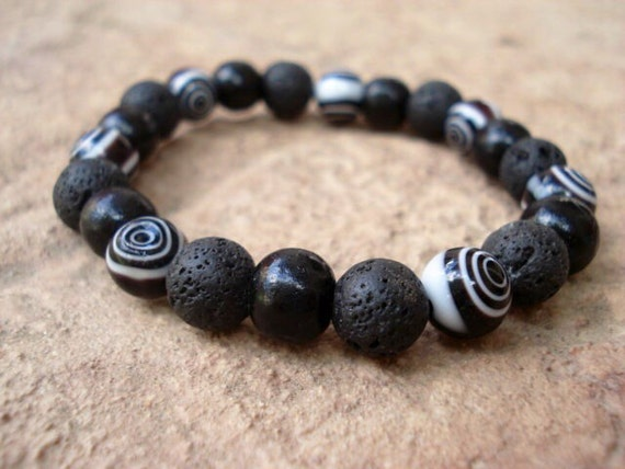 Black Lava Wood Bracelet, Evil Eye Bracelet, Minimalist  Boho Modern Hipster Stackable Beaded Stretch Mens Women's Bracelet, Men Jewelry