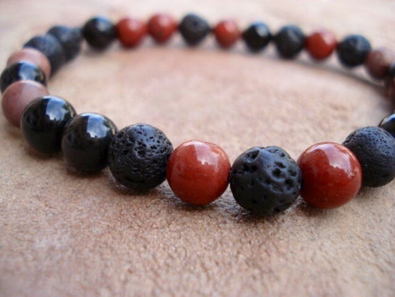 Lava Bracelet, Black Agate Bracelet, Red Jasper Bracelet, Mens Jewelry, Stackable Bracelet, Women's Beaded Bracelet, Gemstone Bracelet