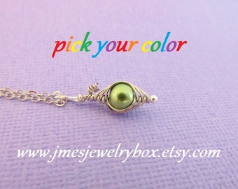 One pea in a pod necklace - Choose your color! Made to order