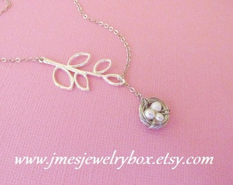 Little wire wrapped freshwater pearl bird nest necklace with branch - Choose number of eggs