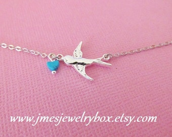 Sparrow bracelet with turquoise heart (Adjustable)