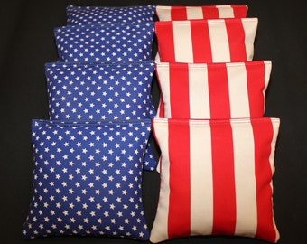 Blue & Red STARS STRIPES Patriotic Cornhole Bean Bags 8 Aca Regulation Corn Hole Bags