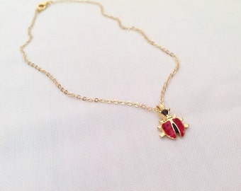 Gold Plated Ladybird Necklace/KIDS Necklace,Ladybug Charm Pendant,Kids Jewelry,Toddler Jewelry,Jewelry,Baby Girl,Gift,Gold Jewelry,
