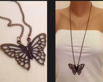 Antique Silver or Brass Butterfly Necklace Animal Necklace Boho Jewelry Pendant Necklace Casual Fashion Jewelry Long Pendant Necklace Gift