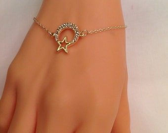 Gold Plated Moon Star Bracelet, Gold Rhinestone Pendant, Gold Jewelry, Star Jewelry, Cute  Necklace, Star Charm, Christmas Gifts