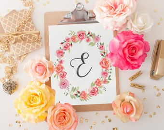 Monogram Nursery Letter E Print - Girl Nursery Decor - Floral Wreath - Printable Art - Instant Download - Watercolor Art - Initial Print