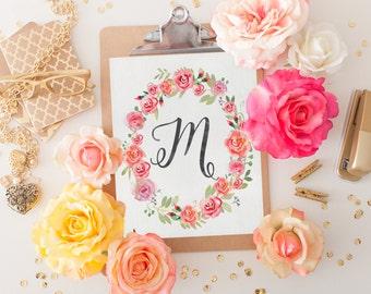 Monogram Nursery Letter M Print - Printable Art - Girl Nursery Decor - Floral Wreath - Instant Download - Watercolor Art - Initial Print