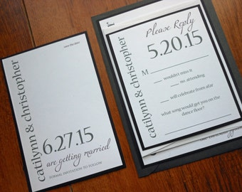 Purple and Gray Modern Save the Date - Contemporary Wedding - Contemporary Names and dates