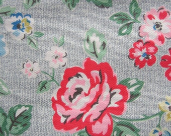 1/2m Cath Kidston Cotton Upholstery Fabric. Rainbow Rose. Heavy Canvas. 145cm wide. 420glm