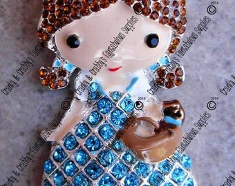 Original Design Dorthy and Toto Rhinestone Pendant -  53mm x 27mm - Colored enamel on silver metal with rhinestones wizard of oz